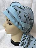 Летняя  бандана-шапка-косынка-тюрбан с объёмной драпировкой  бирюзовая, фото 4