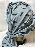 Летняя  бандана-шапка-косынка-тюрбан с объёмной драпировкой  бирюзовая, фото 5