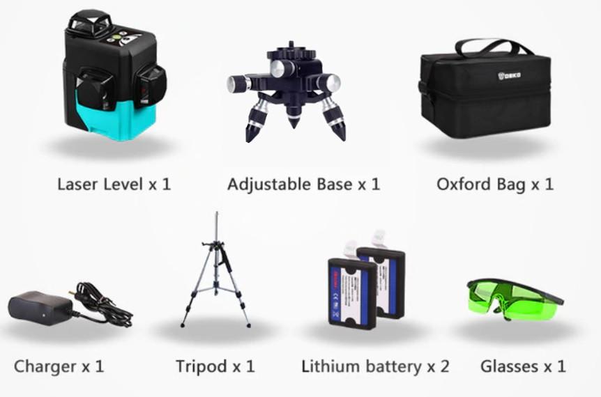 МЕГАКОМПЛЕКТ! SHARP діоди✷50м✷ 3D лазерний нівелір DEKO LL12-HVG《12 ліній 》2 Li-ion 2600мАч+ ТРИНІГ