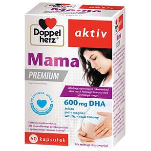 Doppelherz Aktiv, Mama Premium, Пренатальные витамины с DHA EPA. фолиевой кислотой, витаминами  60 капс