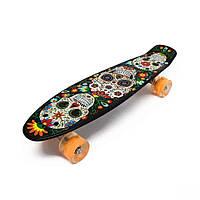 Скейт Пенни Борд с принтом Черепа со светящимися колесами LED(Пенни лайт) оригинал