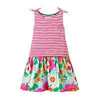 Платье для девочки, сарафан, розовое. Крупные цветы.