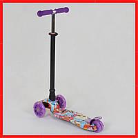 Фиолетовый трехколесный самокат для девочки Самокат кикборд для девочки от 3-х лет
