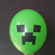 """Латексна кулька з малюнком Minecraft Майнкрафт зелений 014 12"""" 30см Belbal ТМ """"Star"""""""