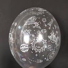 """Латексный шар с рисунком Космос прозрачный кристалл 038 12 """"30см Belbal ТМ"""" Star """""""