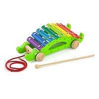 """Музыкальная игрушка-каталка детская для прогулки """"Крокодил"""" Viga Toys, 25 х 8,2 х 10 см"""