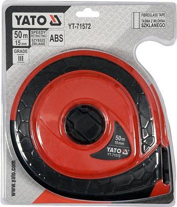 Рулетка стекловолоконная 50 м Х 15 мм YATO YT-71572, фото 2