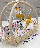 """Детский игровой развивающий коврик - Кокон гнездышко для новорожденного 2 в 1 """" Лисичка """""""