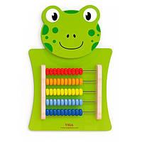 Детская деревянная настенная развивающая и обучающая считалка Viga Toys Лягушка, зеленая