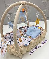 """Детский игровой развивающий коврик - Кокон гнездышко для новорожденного 2 в 1 """" Мишка """""""