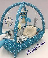 """Детский игровой развивающий коврик - Кокон гнездышко для новорожденного 2 в 1 """" Мишка Бирюзовый """""""