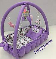 """Детский игровой развивающий коврик - Кокон гнездышко для новорожденного 2 в 1 """" Совка """""""