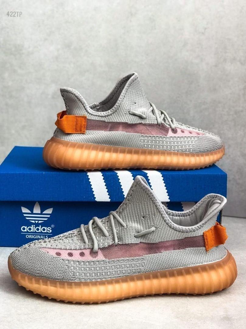 Мужские кроссовки Adidas Yeezy Boost Grey/Orange 422TP