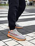 Мужские кроссовки Adidas Yeezy Boost Grey/Orange 422TP, фото 7
