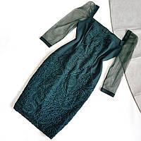 Элегантное нарядное зеленое платье-футляр с рукавом-сеткой