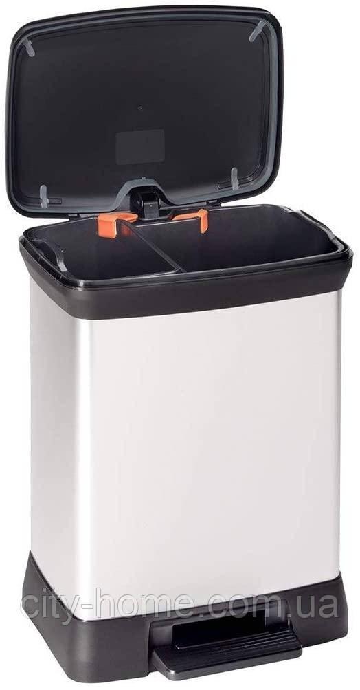 Ведро Curver Deco Bin Duo для раздельного мусора 10+18 литров