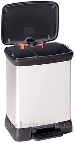 Відро Curver Deco Bin Duo для роздільного сміття 10+18 літрів, фото 2
