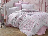 Комплект постільної білизни ранфорс розово-білий  Сакура 200х220 Турція (TM Aran Clasy) SALIDA V2