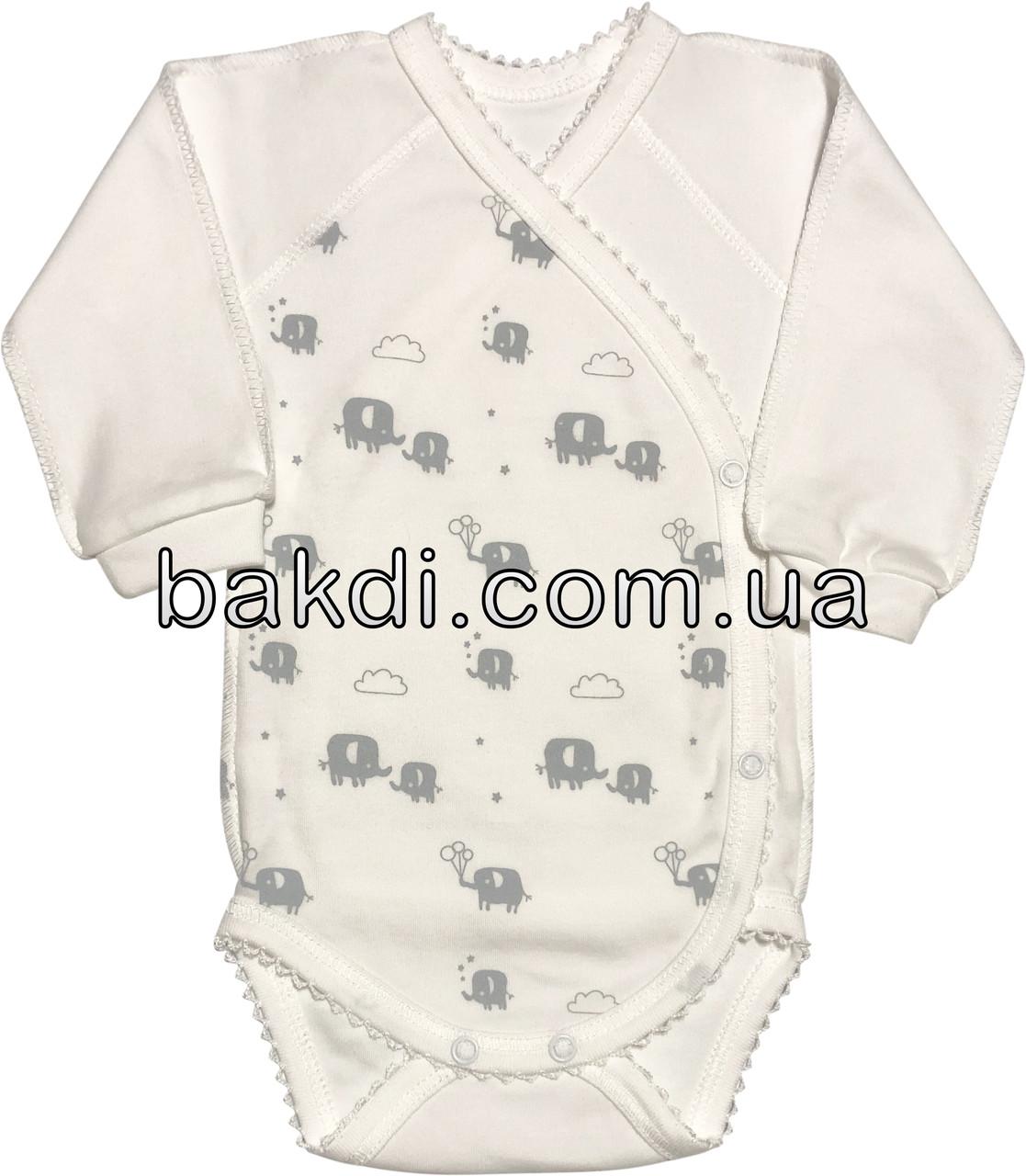Детское боди для новорожденных рост 68 3-6 мес на мальчика девочку трикотажное с длинным рукавом молочное