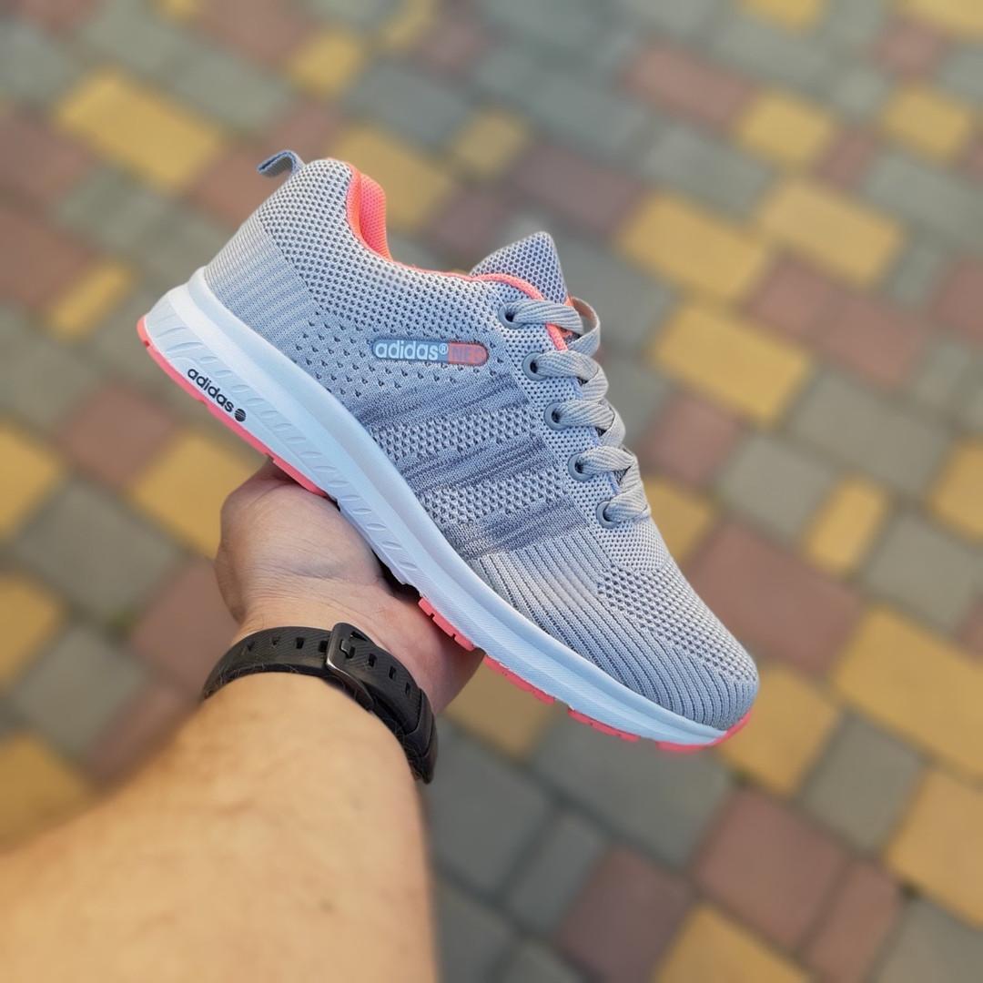 Женские кроссовки Adidas NEO (серо-розовые) 20129