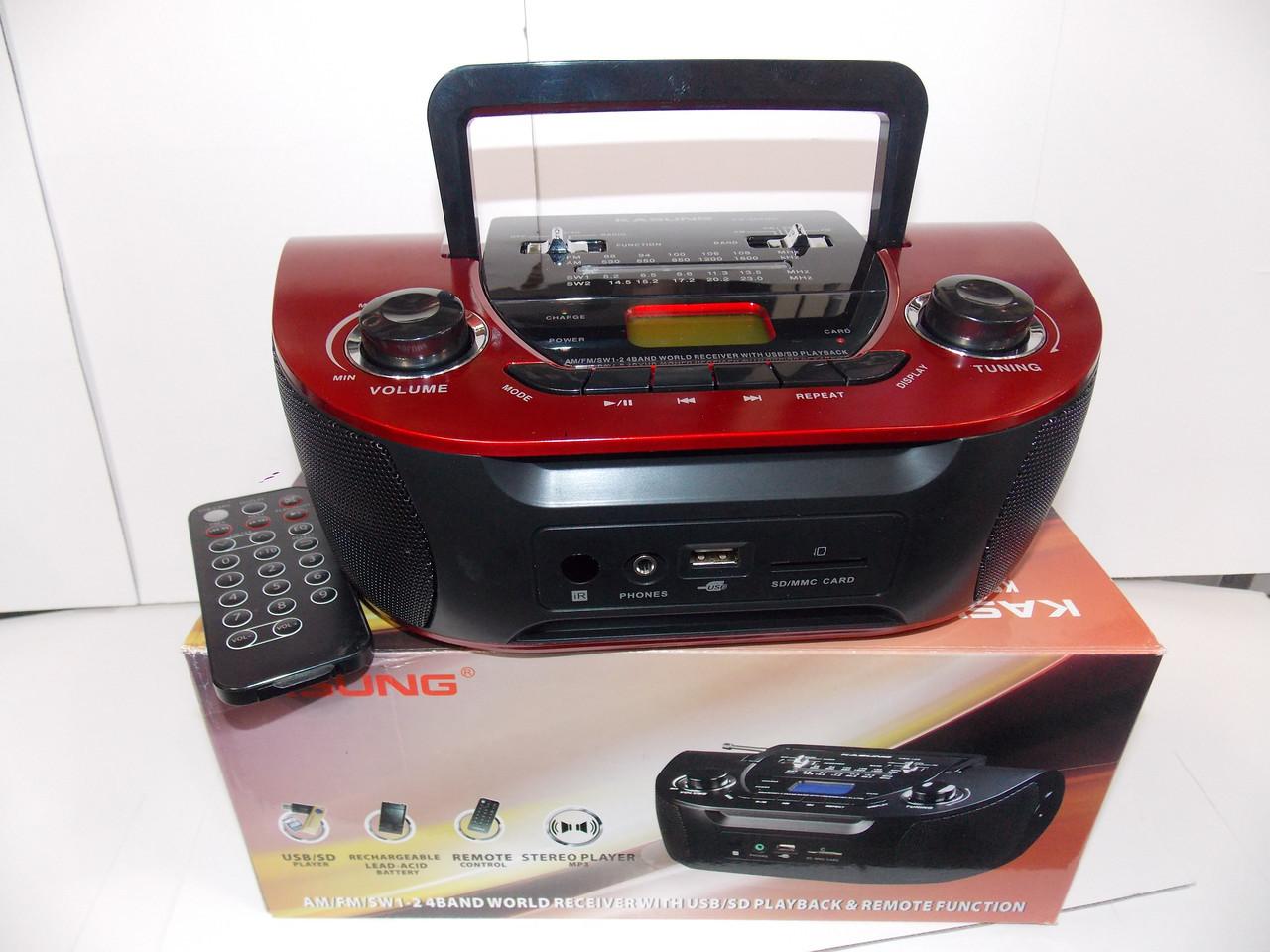 Радио магнитола KS-201 USB SD аккумулятор пульт
