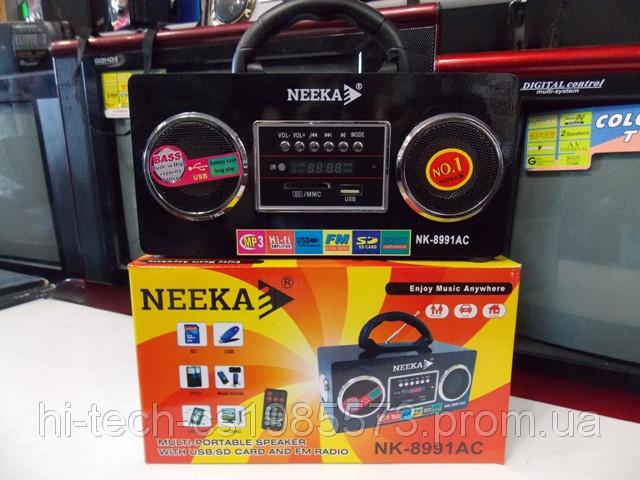 Радио Neeka NK 8991 аккумулятор 220 Вт USB SD корпус дерево