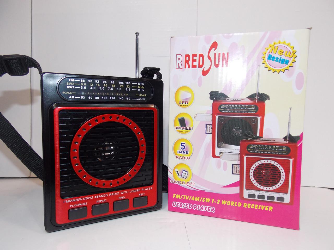 Радио RED SUN RS-084 USB SD аккумулятор ручная настройка радио