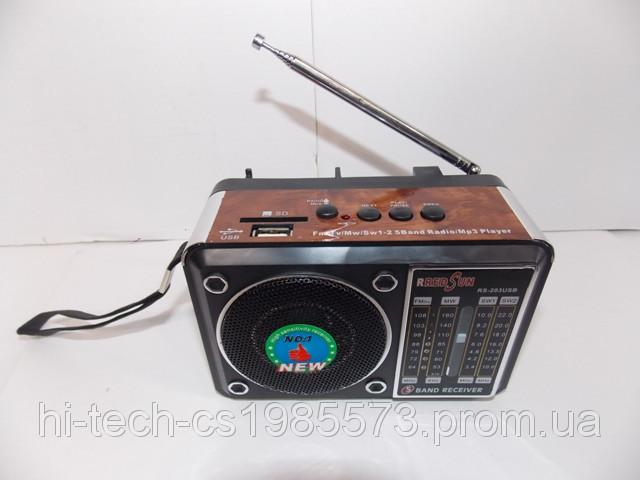 Радио колонка с одним динамиком RS-203 FM/AM USB SD аккумулятор ручная настройка радио