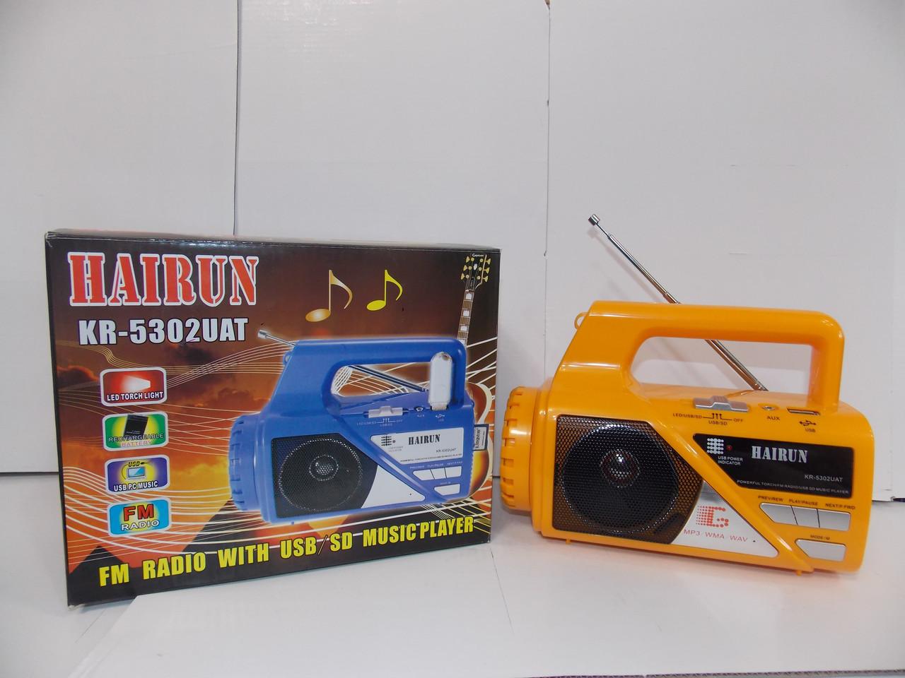 Радио с фонарем RS 5302 USB SD аккумулятор фонарь
