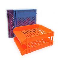 5523C-2 Пластиковый горизонтальный лоток для бумаги  2 секции синий оранжевый фиолетовый