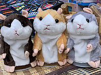 Говорящий хомяк-повторюшка woody time brown, мягкая игрушка повторяет слова, говорящая игрушка для детей.