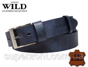 Кожаный ремень для джинс ALWAYS WILD PPW-29 ДхШ: 132х4 см синий