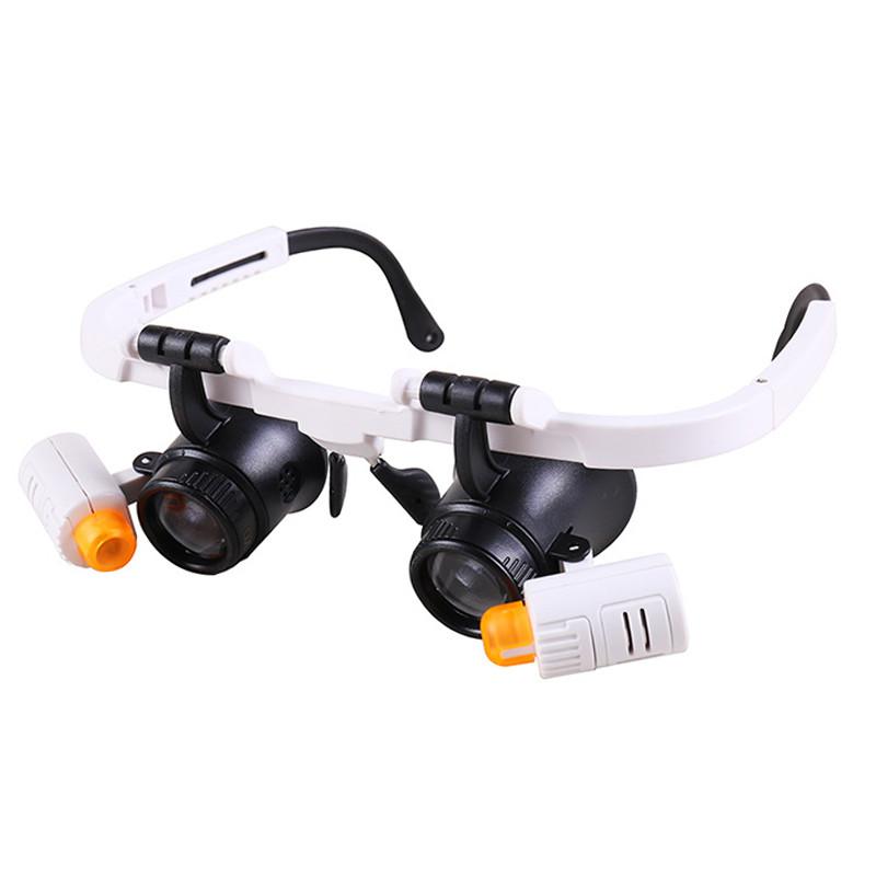 Бинокулярные очки-лупы №9892RD 6X-10X-25X (6 линз) c Led подсветкой