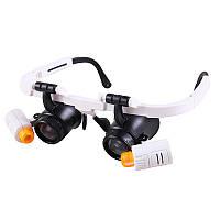 Бинокулярные очки-лупы №9892RD 6X-10X-25X (6 линз) c Led подсветкой, фото 1