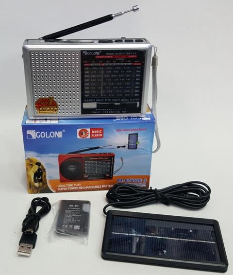 Кишеньковий радіоприймач на сонячній батареї з USB Golon RX-BT6677