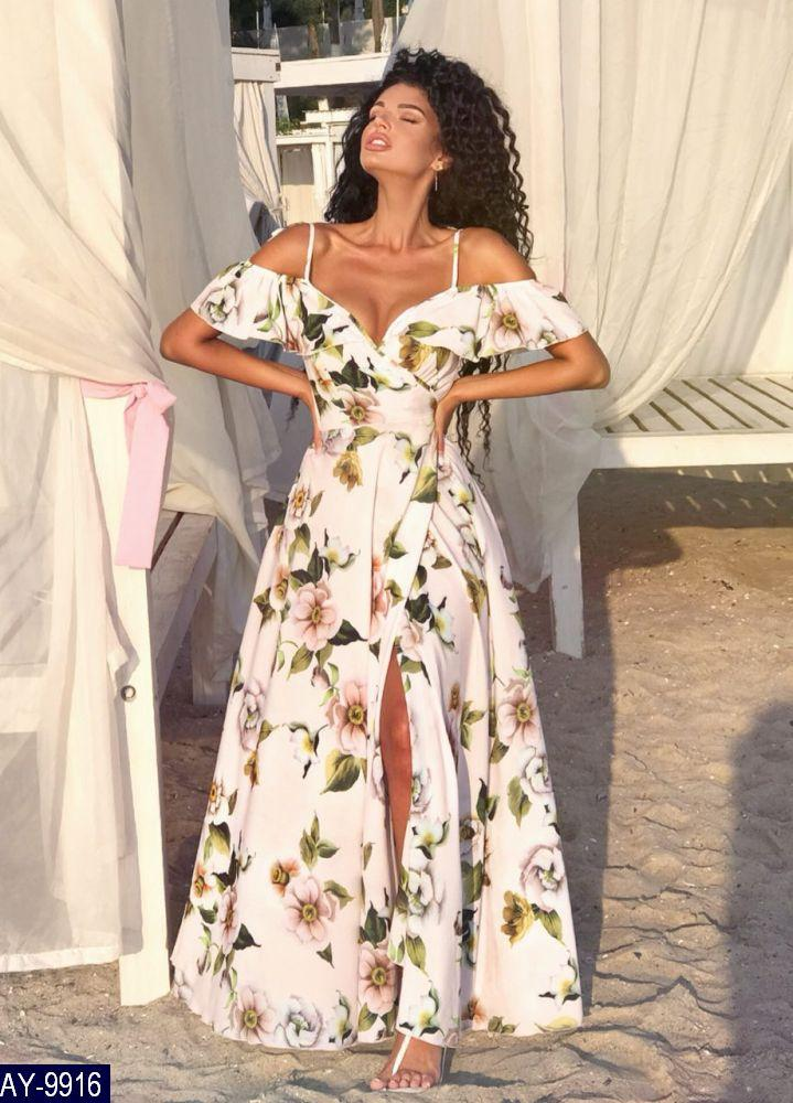 Літній довге жіноче плаття на запах з софта, спідниця-кльош, розміри 42-46