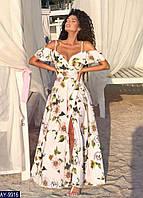 Летнее длинное женское платье на запах из софта, юбка клёш, размеры 42-46