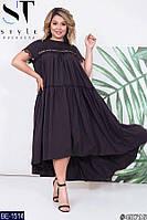 Легкое платье с кружевом батал, размеры 50-52, 54-56, 58-60, 62-64
