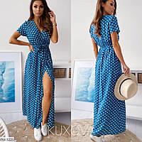Летнее длинное платье в горошек, размеры 42-44, 46-48
