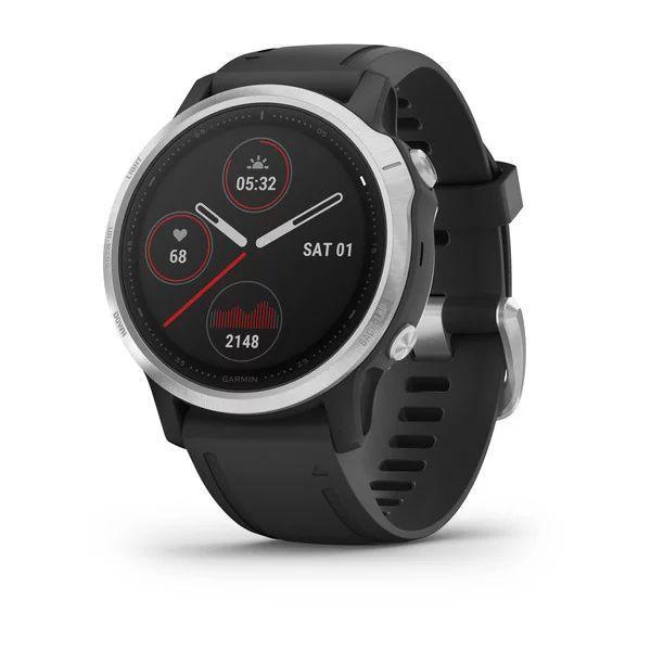 Спортивные часы Garmin FENIX 6S серебристый с черным ремешком