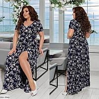 Летнее женское длинное платье большого размера, размеры 50-52, 54-56, 58-60