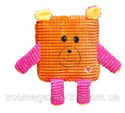 Игрушка для собак с пищалкой «MINI Cuddly Cubes» GimDog оранжевая 20,8 см (текстиль)