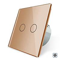 Сенсорный выключатель Livolo для ванной комнаты свет и вытяжка золото стекло (VL-C702-2IH-13)