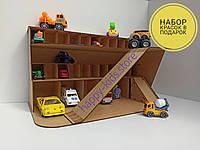 Паркинг-гараж, Детский многоуровневый гараж для машинок, деревянная парковка для машинок + подарок!