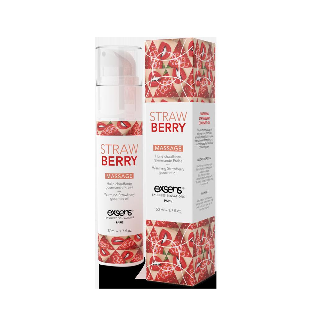 Распродажа! Массажное масло EXSENS Strawberry 50мл разогревающее (срок годности 02.2021)