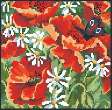 Картина для вышивки крестиком размер А4 Маки Ркан 4015
