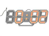 Настінний годинник 3D Digoo з будильником світлодіодні Білий корпус Помаранчовий