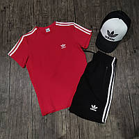 Мужской летний комплект футболка и шорты адидас/Adidas три полоски