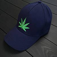 Молодежная кепка/бейсболка с листом конопли