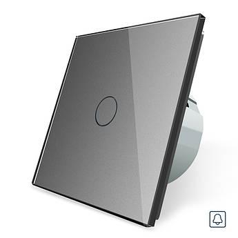 Сенсорная кнопка Импульсный выключатель Мастер кнопка Проходной диммер Livolo серый стекло (VL-C701H-15)